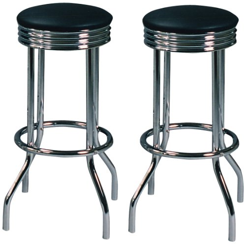 Crown Mark 3904 Retro Swivel Barstool, Black/Chrome, 2 Per Box