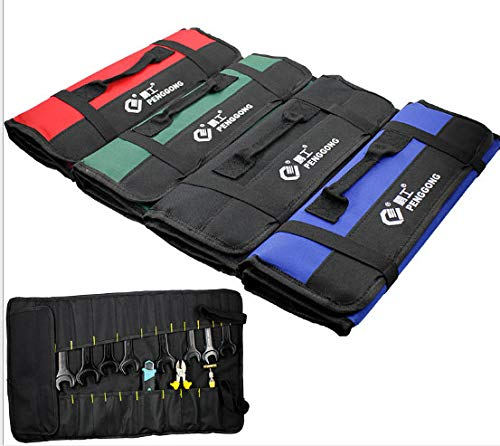 Oxford Canvas Chisel Roll Bags Canvas Roll up Tool Bag Organizer Rolling Small Electrician Tool Bags Green - Green Canvas Oxford