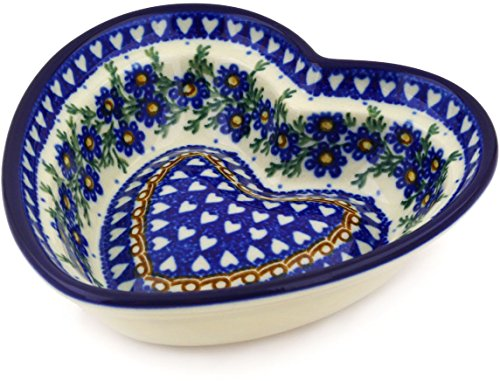 - Polish Pottery 5½-inch Heart Shaped Bowl made by Ceramika Artystyczna (Mother's Love Theme) Signature UNIKAT + Certificate of Authenticity