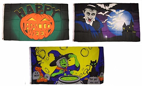 ALBATROS 3 ft x 5 ft Happy Halloween 3 Pack Flag Set #199 Combo Banner Grommets for Home and Parades, Official Party, All Weather Indoors Outdoors]()