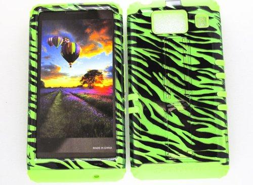 Motorola Green Transparent Faceplates (HYBRID IMPACT SILICONE CASE + LIME GREEN SKIN FOR MOTOROLA DROID RAZR HD XT926 TRANSPARENT GREEN ZEBRA)