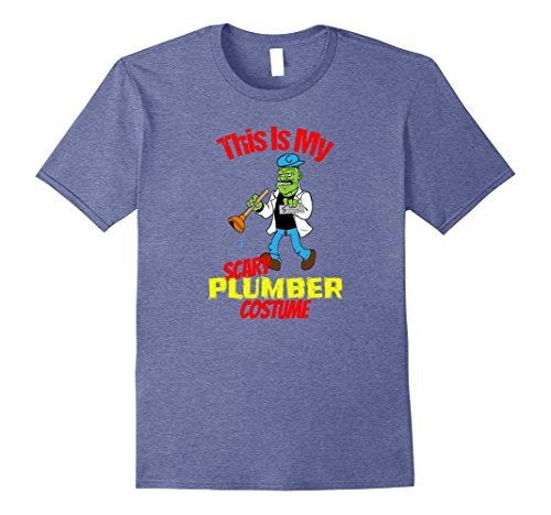 Plumber Costume Ideas - Mens Scary Plumber Costume T-shirt Pipefitter Halloween Tee 2XL Heather Blue