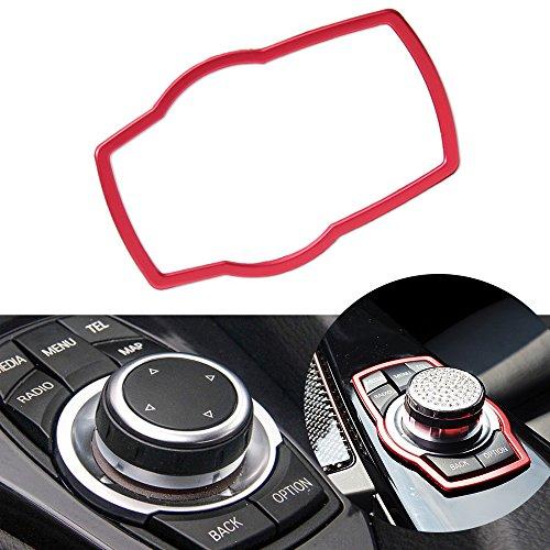Thor-Ind Car Interior Center Console Multimedia Buttons Decor Frame Cover Trim for BMW 1 3 4 5 7 Series X1 X3 X4 X5 X6 2013-2014 E38 E70 E71 E81 E84 E87 F01 F07 F10 F11 F15 F16 F20 F25 F26 (Red)