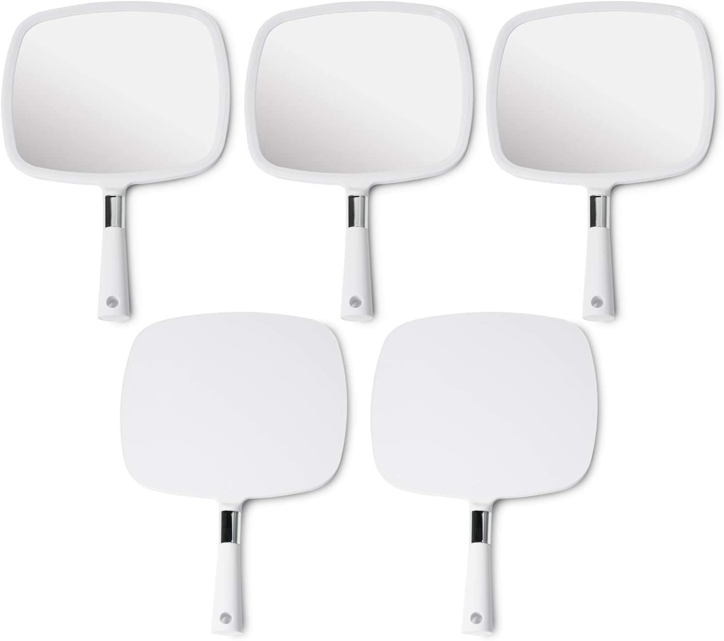 Mirrorvana Large & Comfy Hand Held Mirror with Handle - Professional Salon Model in White (1-Pack): Home & Kitchen