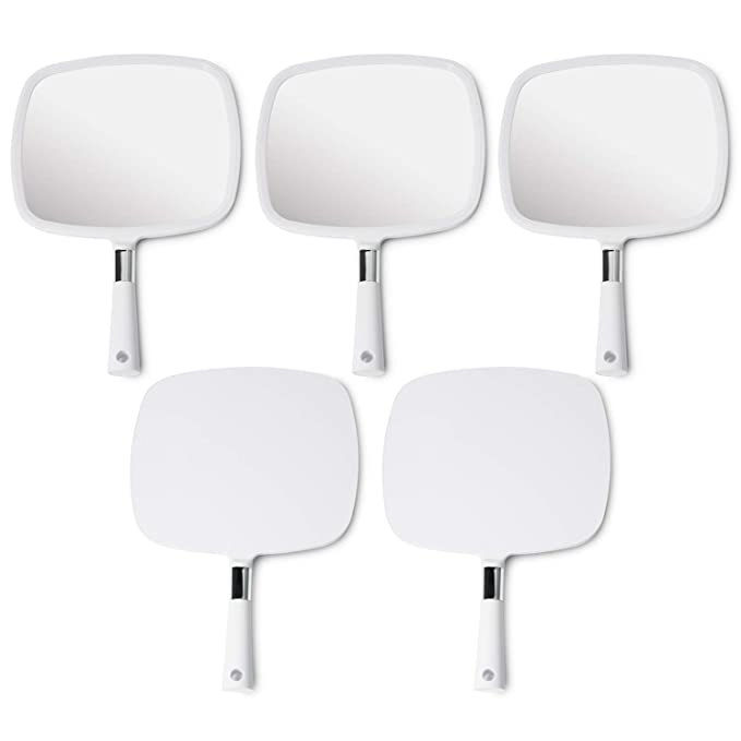 Mirrorvana Large & Comfy Hand Held Mirror (White), Bulk Pack of 5