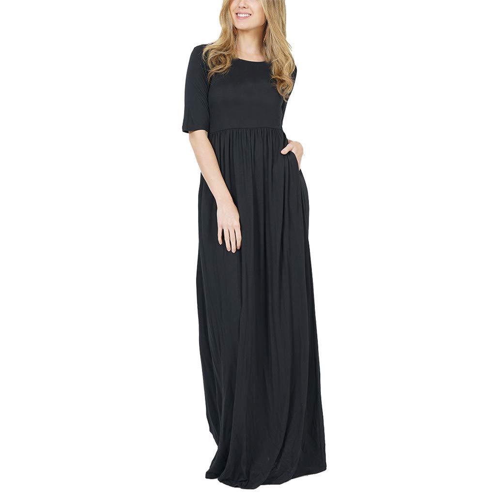 Vickyleb Long Maxi Dresses for Womens Short Sleeve Loose Plain Maxi Dresse Casual Long Dresses with Pockets Black