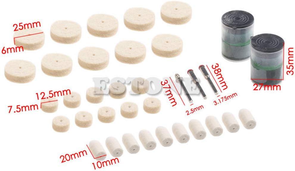 Yintiod Lot de 35 outils de polissage en feutre pour outils de pr/écision Dremel 1//8
