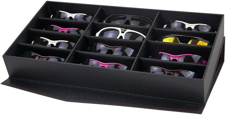 ChenYongPing Caja para Gafas de Sol 12 Grid Sunglasses Display Case Gafas Gafas Almacenamiento Caja con Tapa Plegable para Gafas y joyería Organizar Almacenamiento de Gafas, Joyas y Relojes: Amazon.es: Joyería