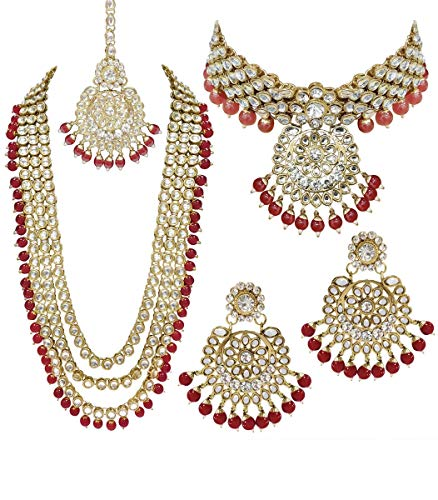 (CROWN JEWEL Indian Bridal Wedding Kundan Choker 5 Pcs Pearl Jewelry Necklace Earrings Set for Women (Red))