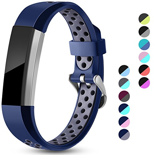 Maledan Replacement Bands Compatible for Fitbit Alta, Fitbit Alta HR and Fitbit Ace, Accessory Sport Bands Air Holes Breathable Strap Wristbands with Stainless Steel Buckle, Blue/Gray, Large