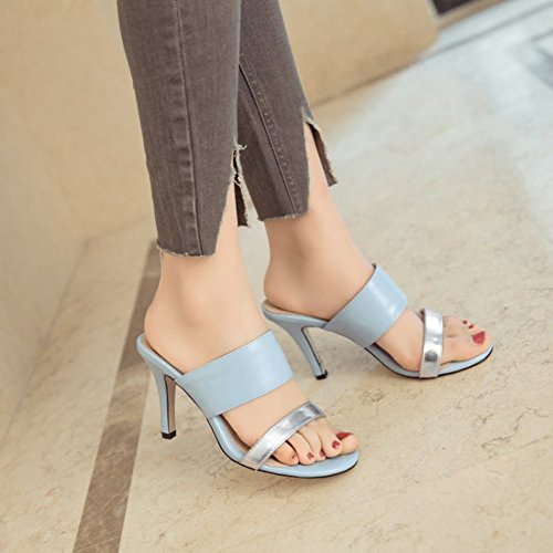 Easemax Womens Stylish Stitching Metallic Strap Open Toe No Closure High Chunky Heel Sandals Blue JBEpEillQR