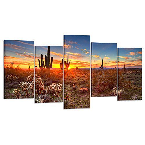 Kreative Arts - Natural Landscape Paintings Wall Art Sunset with Saguaros in Sonoran Desert 5 Pieces Picture Print on Canvas for Modern Home Decoration (Large Size 60x32inch) ()
