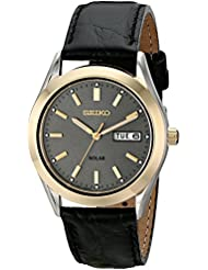 Seiko Mens SNE050 Solar Strap Charcoal Dial Watch