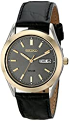 Seiko Men's SNE050 Solar Strap Charcoal Dial Watch
