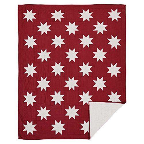 VHC Brands Christmas Farmhouse Bedding - Kent Red Quilt, Twin (Bedding Joanna Magnolia Gaines)