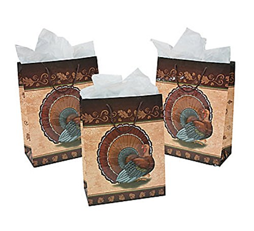 6 Large Thanksgiving Turkey Gift Bags Goodie Bags -