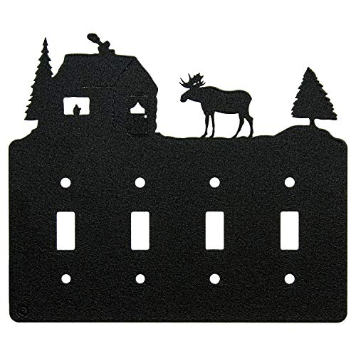 - Moose & Cabin Quadruple Toggle Light Switch Wall Plate (Quadruple Toggle, Black)