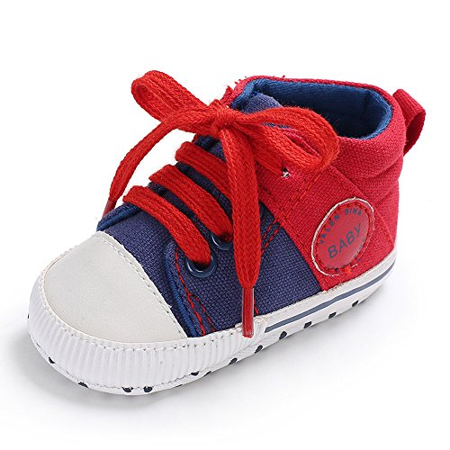 Newborn Shoe Sizes - Baby Girls Boys Canvas Shoes Soft Sole Toddler First Walker Infant High-Top Ankle Sneakers Newborn Crib Shoes (S: 4.25 inch(0-6 Months), C-Red)