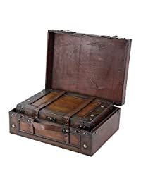 Vintiquewise Old Style Suitcase/Decorative Box with Stripes, Set of 2