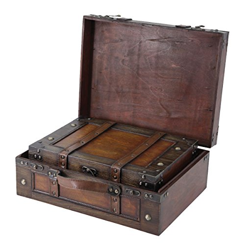 Chest Storage Decorative (Vintiquewise(TM Old Style Suitcase/Decorative Box with Straps, Set of 2)