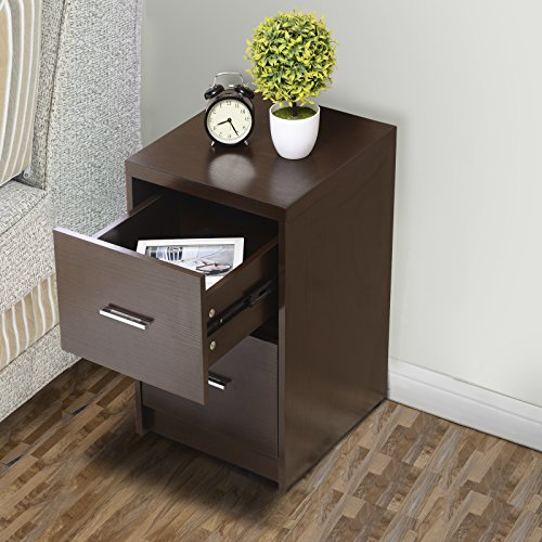 - Mecor 2 Drawers Nightstands End Table MDF Square Accent Table Bedroom Furniture Espresso Finish