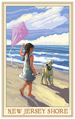 New Jersey Shore Girl Dog Beach Travel Art Print Poster by Joanne Kollman (18