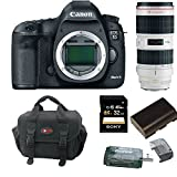 Canon EOS 5D Mark III 22.3 MP Full Frame CMOS with 1080p Full-HD Video Mode Digital SLR Camera (Body) with Canon 70-200/2.8L EF IS USM II Telephoto Zoom Lens and 32GB Accessory Bundle
