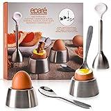 Eparé Egg Cracker Topper Set 2.0 - Complete Soft Boiled Egg Tool Set - Includes Egg Cups, Cutter, Spoons - Eggs Opener