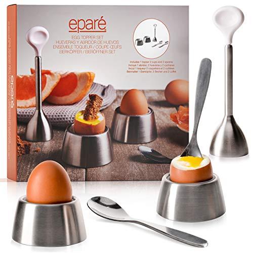 Eparé Egg Cracker Topper Set 2.0 - Complete Soft Boiled Egg Tool Set - Includes Egg Cups, Cutter, Spoons - Eggs ()