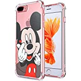 Logee Mickey Mouse TPU Cute Cartoon Clear Case for iPhone 8 Plus/7 Plus 5.5',Fun Kawaii Animal Soft Protective Cover,Ultra-Thin Shockproof Funny Character Cases for Kids Teens Girls Boys (8Plus)