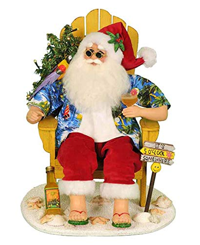 Chair Margarita - Kensington Row Christmas Collection Holiday Figurines - Tropical Santa with Margarita & Lighted Tree Seated in Yellow Beach Chair