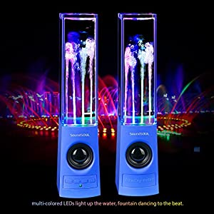 SoundSOUL Bluetooth Water Dancing Speakers Light Show Water Fountain Speakers LED Speakers (Dual 3W Speakers, 4 Colored LED Lights, Built-in Rechargeable 1800mAh Battery, Bluetooth 4.0) - Blue