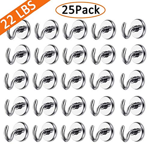 - EVISWIY Strong Magnetic Hooks Refrigerator for Hanging Keys Grill Tools Heavy Duty Small Neodymium Magnets Hooks Hangers for Cruise Cabins Fridge Classroom Kitchen Office Garage 25 Pack