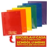 StoreSMART - Plastic School / Home Archival Folders - Spanish / English - Primary Colors 60 Pack - 10 Each of Six Bright Colors (SH900PCP60SPAN)
