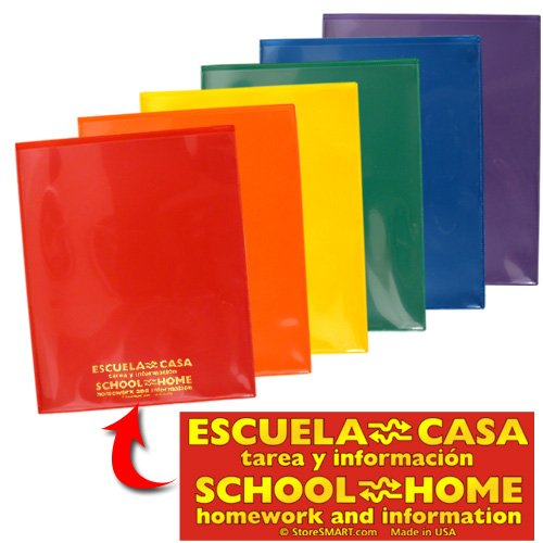 StoreSMART - Plastic School / Home Archival Folders - Spanish / English - Primary Colors 150 Pack - 25 Each of Six Bright Colors (SH900PCP150SPAN) by STORE SMART