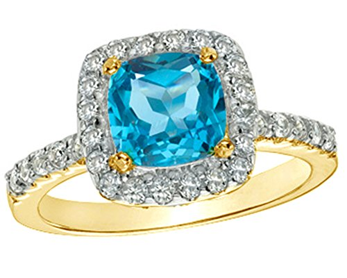 Jewel Zone US Simulated Swiss Blue Topaz & White Sapphire Frame Ring in 14k Gold Over Sterling Silver (7.0mm) 14k Yg Frame