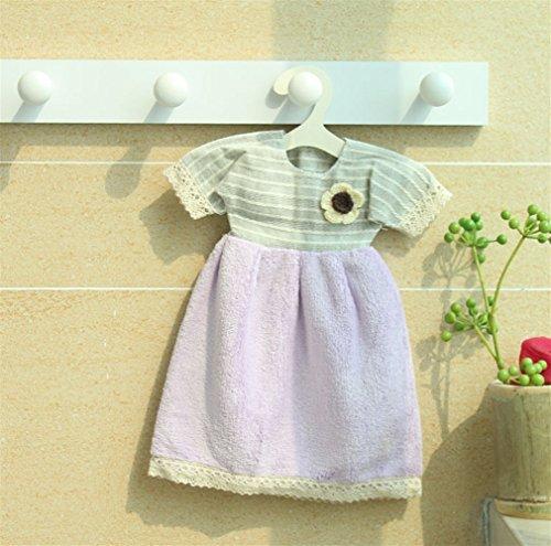 Pengcher 1pc Belle Robe De Velours Corail Enfants Cuisine Serviette Absorbante Pendaison Serviette Violette