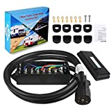 electric trailer cord - WATERWICH Heavy Duty 7 Way Trailer Plug Cord with 7 Gang Junction Box 6 Feet Harness Inline Copper Blade Wire Connector Weatherproof for RV Tow Truck Commercial Vehicle (6 Feet with Junction Box)