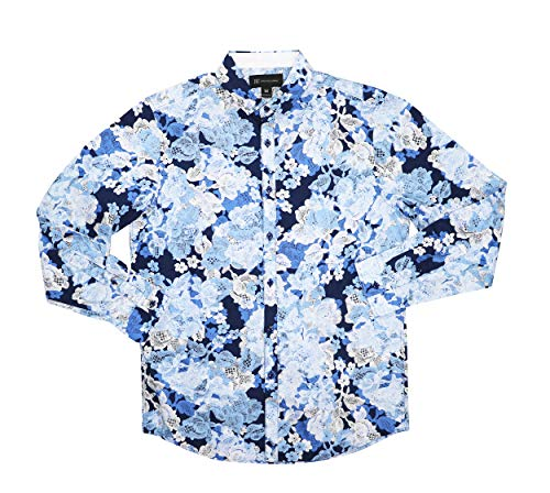 INC International Concepts Floral Print Long Sleeve Button Down Shirt (Blue Combo, -
