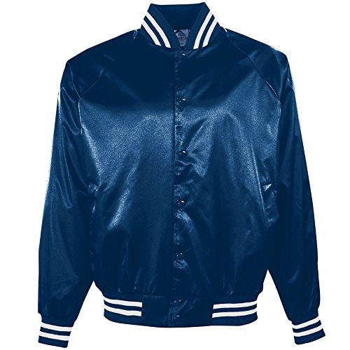 Augusta Sportswear Augusta Satin Baseball Jacket/Striped Trim, Navy/White, -