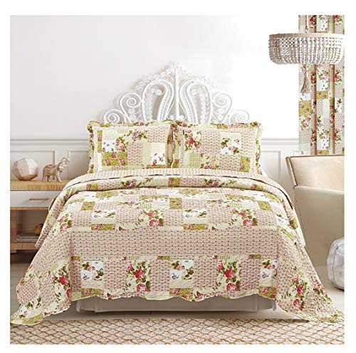 All American Collection 3-Piece Floral Bedspread Queen Size and Pillow Sham Set | Matching Curtains ()