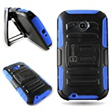 Moto E + 1 Case, CoverON® for Motorola Moto E (2nd Generation 2015) Belt Clip Holster Case [Explorer Series] Hybrid Heavy Duty Protective Phone Cover with Kickstand (Will Not Fit Moto E 1st Gen.) - Blue & Black
