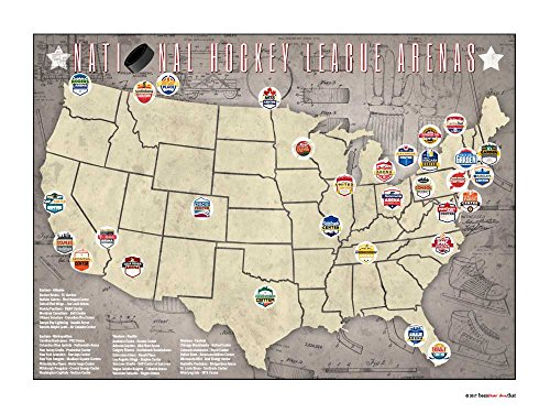 (Benthar Dunthat Professional Hockey Stadiums Arenas Pro Teams Print-Only Location Map, 24x18)