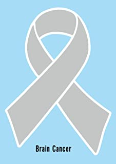 "Grey Brain Cancer Awareness Ribbon Car Magnet Decal Heavy Duty  3.5/"" x 7/"""