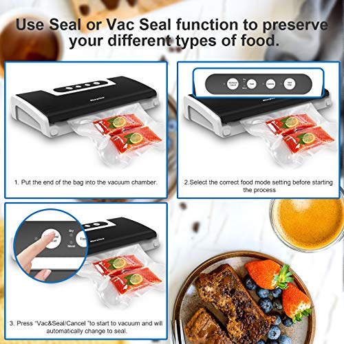 Vacuum Sealer Food Saver, Automatic Vacuum Air Sealing System for Food Preservation, Dry & Moist Food Modes, 4 in 1 Food Sealer with Cutter, 10 Vacuum Sealer Bags, Vacuum Bottle Stopper, Air Suction Hose for Sous Vide, 5x Longer Fresh, 30 C