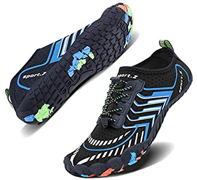 Wonesion Water Swim Shoes Barefoot Aquaa Socks for Men Women Walking Driving Garden Park Pool