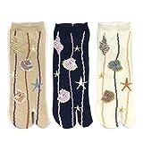 Bowbear Womens 3-Pair Flip-Flop Socks, By the Beach (Ankle)