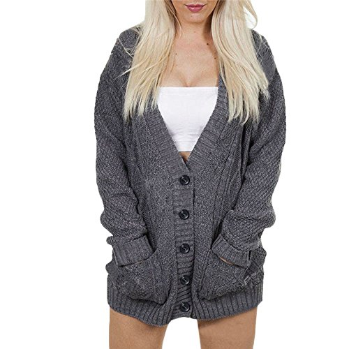 Birdfly Winter Button Down Cardigan in Solid Gray with Pocket Sexy Blouse Mini Dress for Women (M, Gray)