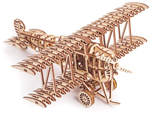 Puzzle Plane - Bi-Plane Toy Kit, Wooden Toy Plane - Mechanical Model Plane Mini - 3D Wooden Puzzle, Assembly Toys, ECO Wooden Toys, Best DIY Toy - STEM Toys for Boys and Girls - 3D Plane