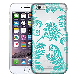 Apple iPhone 6 Plus Case, Slim Fit Snap On Cover by Trek Damask Vintage Turquoise Clear Case